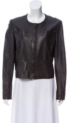Chanel Leather Zip-Up Jacket