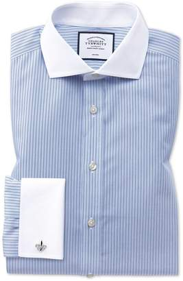 Charles Tyrwhitt Slim Fit Non-Iron Spread Collar Blue and White Stripe Cotton Dress Shirt Single Cuff Size 15/33