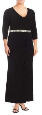 Marina Beaded Waist Ruffle Gown