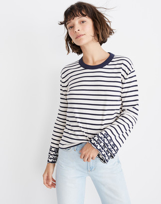 a8e2ad8e9997b1 Madewell Eyelet Embroidered Tier-Sleeve Tee in Baker Stripe