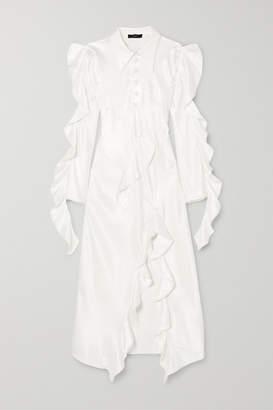 Ellery Temptress Ruffled Satin Maxi Dress - Ivory