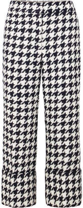 Oscar de la Renta Cropped Houndstooth Wool-blend Tweed Straight-leg Pants - Black