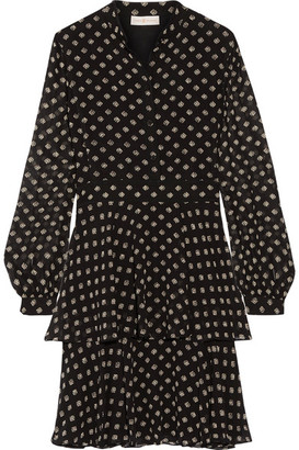 Tory Burch - Seymour Printed Silk-georgette Mini Dress - Black $450 thestylecure.com