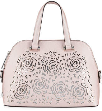 Christian Siriano Janelle Mini Floral Laser-Cut Dome Satchel Bag