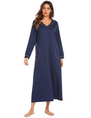 9ad4cf16d9 Ekouaer Loungewear Long Nightgown Women s Zipper- Front Nightshirt Full  Length Sleepwear with Pocket