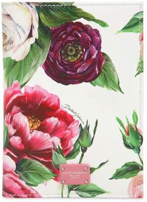 Dolce & Gabbana Floral Printed Leather Passport Holder