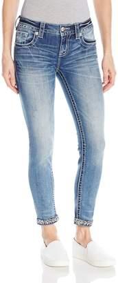 Miss Me Women's Embellished Cuff Ankle Skinny Denim Jean