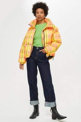 Topshop Petite Tartan Check Puffer Jacket