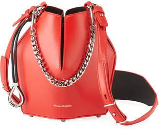 Alexander McQueen The Bucket Leopard Calf-Hair Drawstring Bag