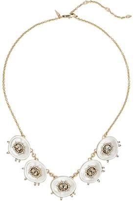 Alexis Bittar Crystal and Stone Studded Small Liquid Silk Bib Necklace