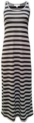 MonsterCloset Plus Size Sleeveless Maxi Dress, Black/Grey