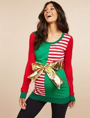 Motherhood Maternity Christmas Present Bow Maternity Sweater