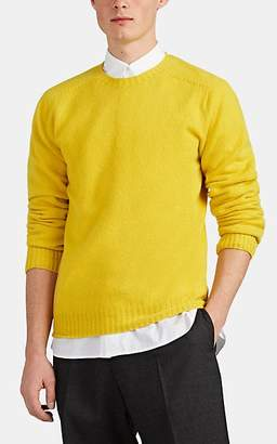 Officine Generale Men's Lambswool Saddle-Shoulder Sweater - Yellow