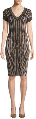 Naeem Khan NK32 V-Neck Short-Sleeve Animal-Print Cocktail Dress