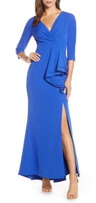 Eliza J Side Ruffle Faux Wrap Gown