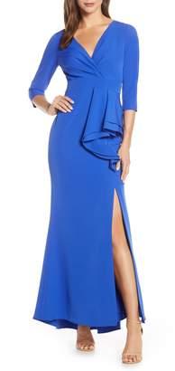 Eliza J Side Ruffle Faux Wrap Gown