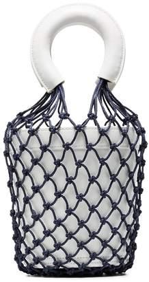 Staud Moreau Macrame Leather Bucket Bag - White and Navy