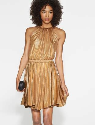 Halston Textured Metallic Jersey Dress