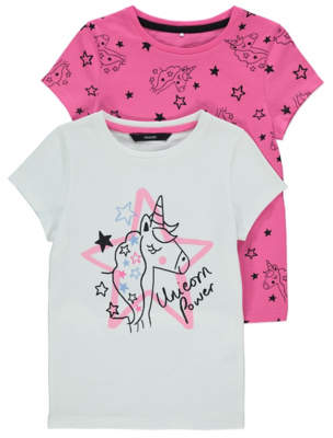 George Pink and White Unicorn T-Shirts 2 Pack