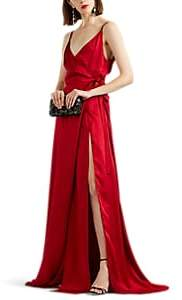 Azeeza Women's Evie Silk Wrap Gown - Red