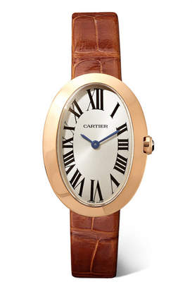 Cartier Baignoire 24.5mm Small 18-karat Pink Gold And Alligator Watch - Rose gold
