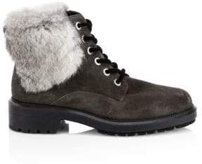 Aquatalia Women's Lacy Rabbit Fur& Shearling-Lined Combat Boots - Grey - Size 9.5
