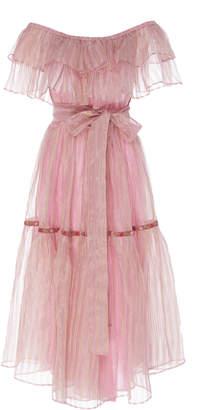 LoveShackFancy Bristol Ruffle Midi Dress