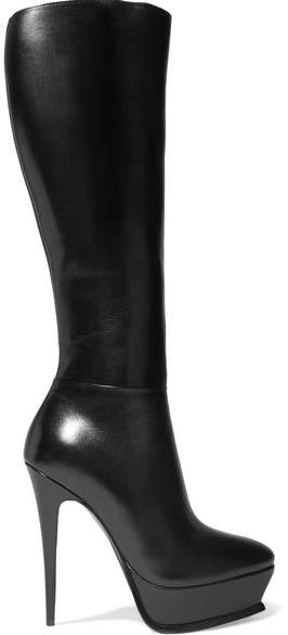 Saint Laurent - Tribute Leather Platform Knee Boots - Black