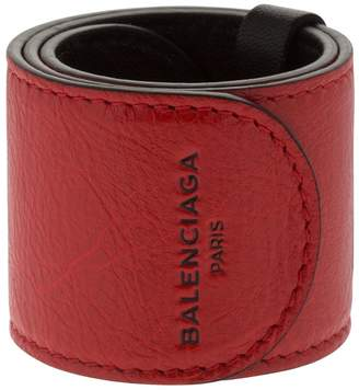 Balenciaga Cycle Leather Slap Bracelet