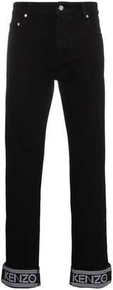 Kenzo Turn Up Detail Logo Jeans