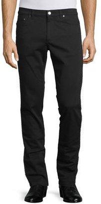 Versace Collection Rope-Trim Straight-Leg Denim Jeans, Black $550 thestylecure.com