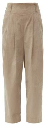 Brunello Cucinelli High Rise Cotton Blend Corduroy Trousers - Womens - Beige
