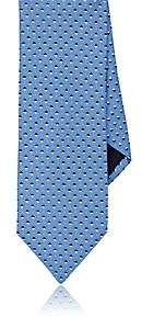 Barneys New York MEN'S DIAMOND-DOT SILK TWILL NECKTIE-LT. BLUE