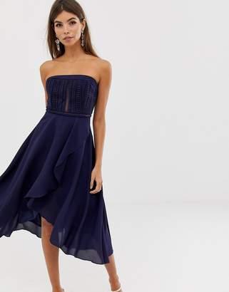 Asos Design DESIGN bandeau lace bodice soft layered skirt midi dress