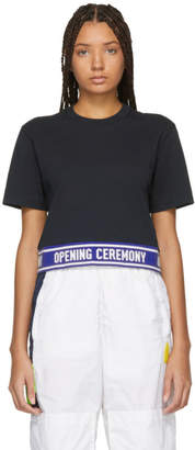 Opening Ceremony Navy Cropped Elastic Logo T-Shirt