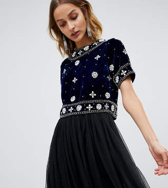 Lace and Beads Lace & Beads velvet embellished crop top in midnight navy