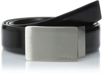 Calvin Klein Men's Feather Edge Leather Belt With Plaque Buckle