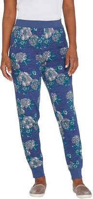 Denim & Co. Active Petite Floral Print French Terry Jogger Pant