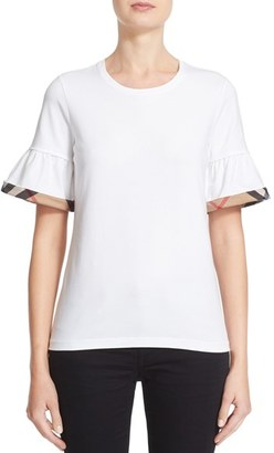 Women's Burberry Check Trim Bell Sleeve Tee $195 thestylecure.com