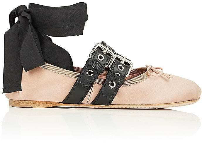 Miu Miu Women's Double Buckle Satin Ankle-Tie Flats