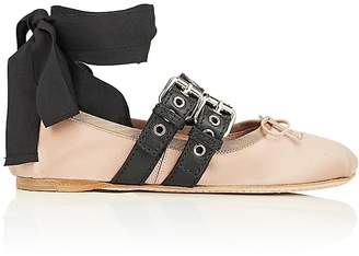 Miu Miu Women's Double Buckle Satin Ankle-Tie Flats