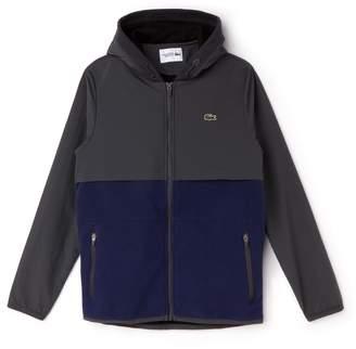 Lacoste Men's SPORT Hooded Bi-Material Colorblock Tennis Jacket