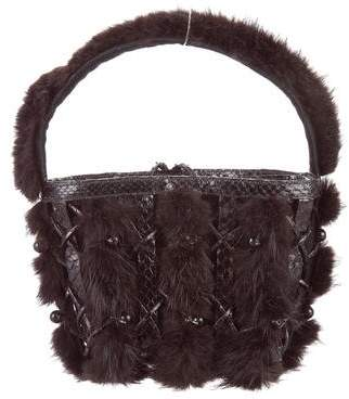 Nancy Gonzalez Python & Fur-Trimmed Bag