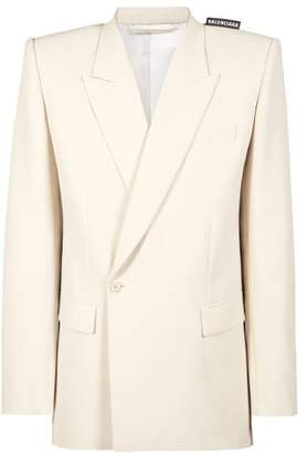 Balenciaga Single Breasted Wool Blend Twill Blazer - Mens - White