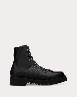 Valentino Garavani Uomo Vlogo Boots In Calfskin Leather With Shearling Lining Man Black 100% Pelle Di Vitello - Bos Taurus 43