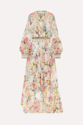 Camilla Embellished Floral-print Silk-crepon Wrap Maxi Dress - White
