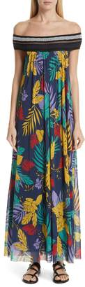 Fuzzi Floral Tulle Off the Shoulder Maxi Dress