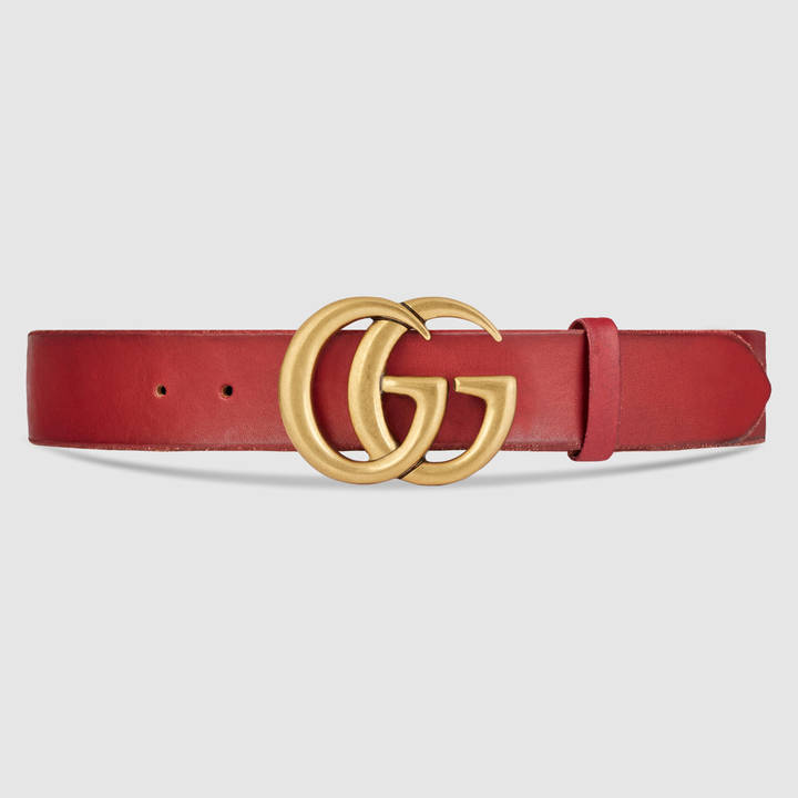 Leather belt with double G buckle 14