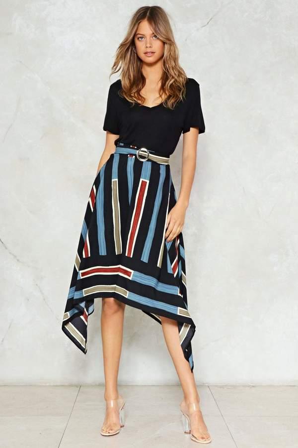 nastygal You're Stripe High-Waisted Skirt