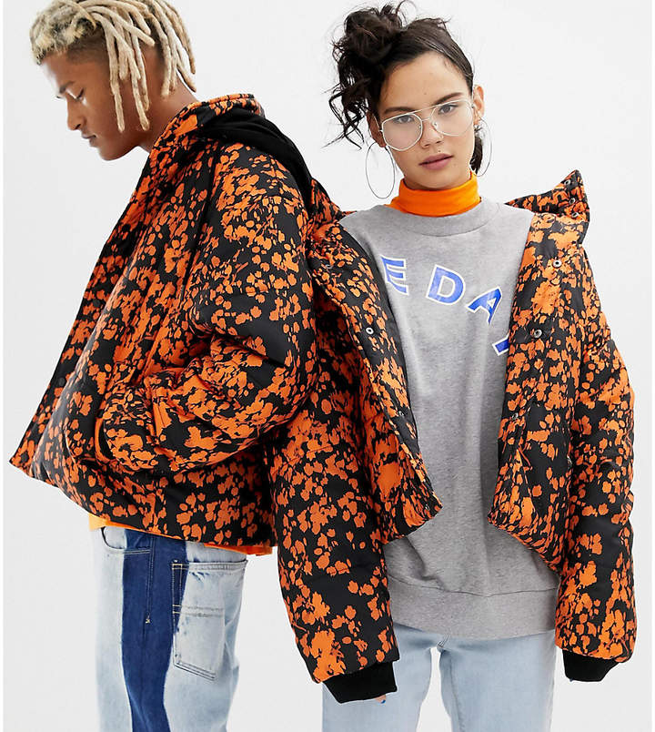 Collusion COLLUSION Unisex printed puffer jacket with removeable hood